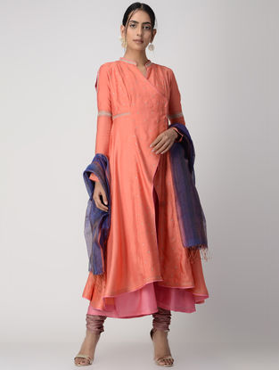 Orange-Pink Zari-embroidered Silk Cotton Jacket with Dress (Set of 2)