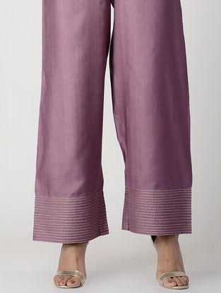 Purple Elasticated-waist Zari-embroidered Silk Cotton Palazzos with Pockets