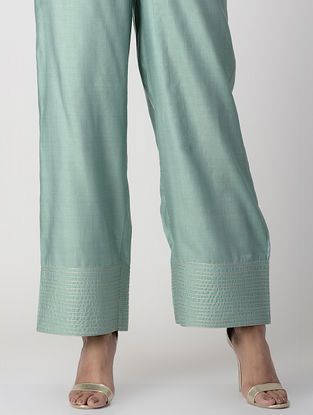Teal Elasticated-waist Zari-embroidered Silk Cotton Palazzos with Pockets
