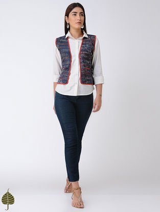 Indigo-Madder Light-weight Jacket with Top-stitch by Jaypore