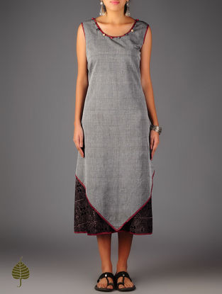 Grey - Black Ajrakh  Detailed Cotton Layered  Dress  By Jaypore
