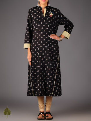 Black - Beige Ajrakh Cotton Kurta By Jaypore