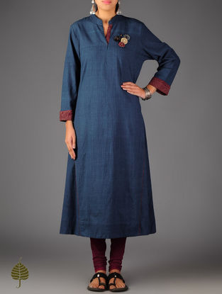 Blue - Red Ajrakh Detailed Cotton Kurta By Jaypore