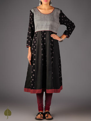 Black - Grey Ajrakh Kalidar Cotton Kurta By  Jaypore