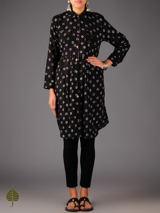 Black - Beige Ajrakh Cotton Tunic By Jaypore