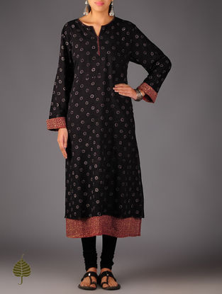 Black - Red Ajrakh Cotton Layered Kurta  By Jaypore