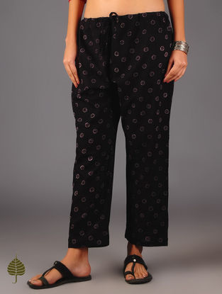 Black Ajrakh Tie - Up Waist Cotton Pants By Jaypore