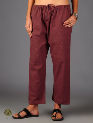 Red Tie - Up Waist Cotton Pants By Jaypore