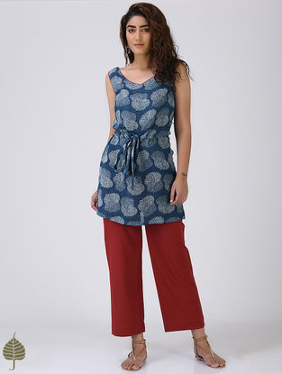 Indigo-Red Printed Linen Top with front Tie-up by Jaypore
