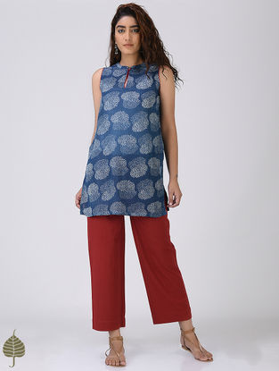 Indigo-Red Printed Linen Tunic by Jaypore