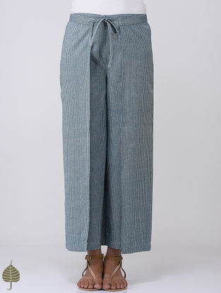Blue-White Striped Tie-up and Elasticated Waist Cotton Pants by Jaypore