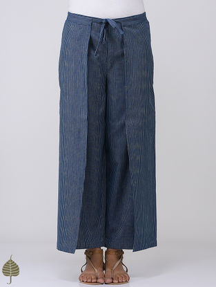 Indigo-White Striped Tie-up and Elasticated Waist Cotton Pants by Jaypore