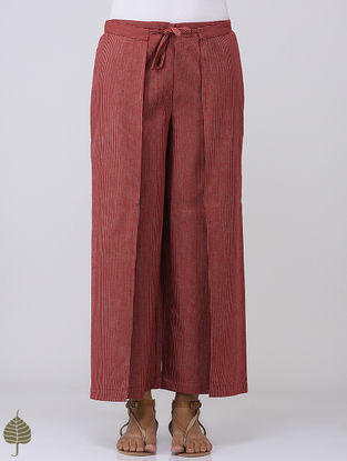 Maroon-White Striped Tie-up and Elasticated Waist Cotton Pants by Jaypore