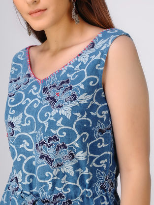 Indigo-White Dabu-printed Cotton Khadi Top by Jaypore