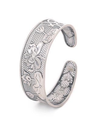 Tribal Silver Cuff with Lotus Motif