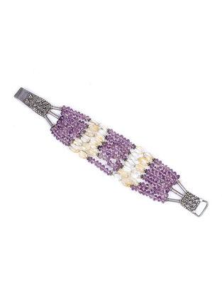 Purple-Yellow Beaded Silver Bracelet