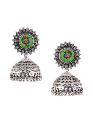 Tribal Silver Jhumkis with Hand - Painted Peacock Motif