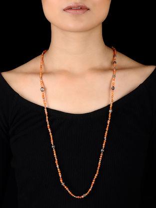 Orange Beaded Tribal Silver Necklace