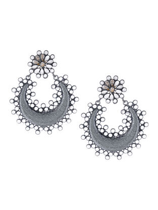 Glass Crystal Silver Earrings with Floral Design