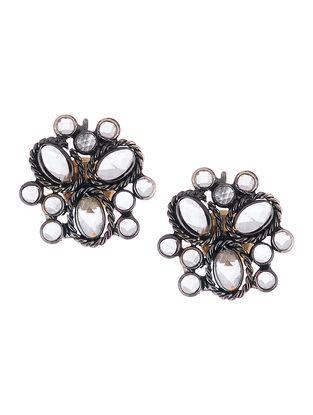 Glass Crystal Silver Earrings