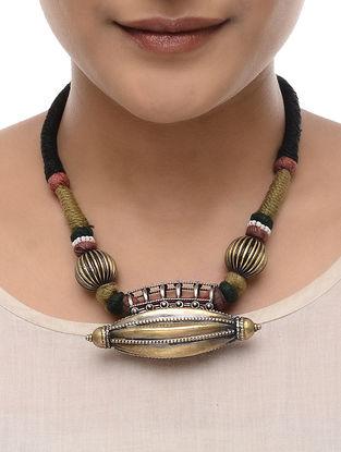 Black Thread Tribal Silver Pendant