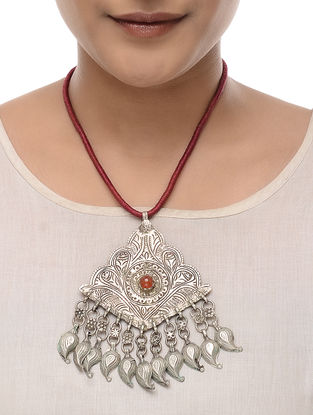Red Thread Tribal Silver Pendant