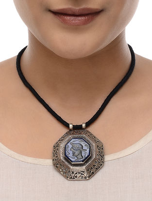 Black Thread Tribal Silver Pendant