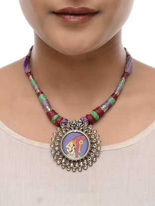 Multicolored Thread Tribal Silver Necklace