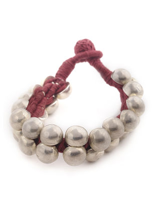 Red Thread Tribal Silver Bracelet