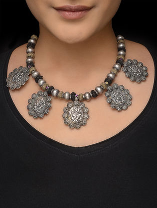 Beige-Black Thread Tribal Silver Necklace with Lord Ganesha Motif