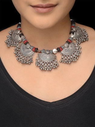 Red-Black Thread Tribal Silver Necklace