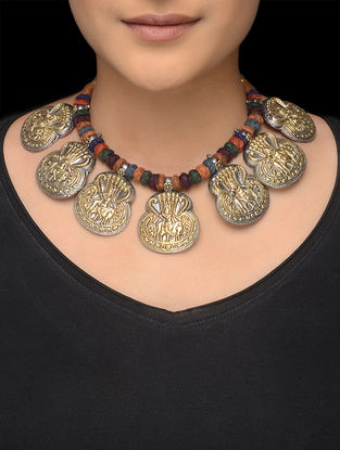 Multicolored Thread Tribal Silver Necklace with Deity Motif