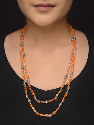 Orange Beaded Silver Necklace