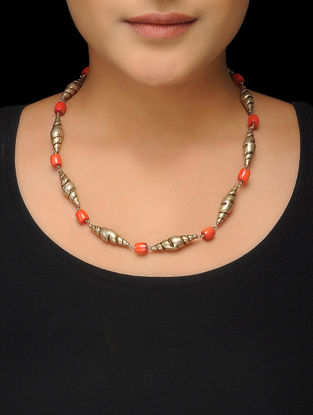 Orange Gold Tone Silver Necklace