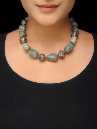 Green Beaded Silver Necklace