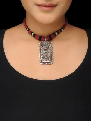 Black-Red Thread Tribal Silver Necklace