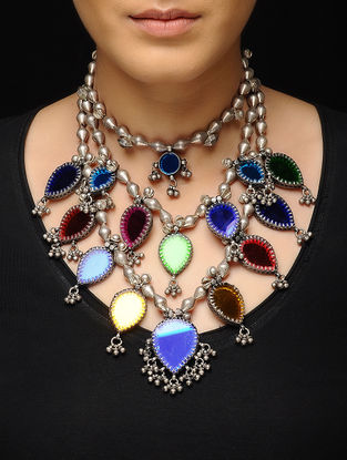 Multicolored Glass Dholki Beaded Silver Necklace