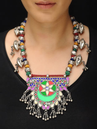 Multicolored Glass Tribal Silver Thread Necklace