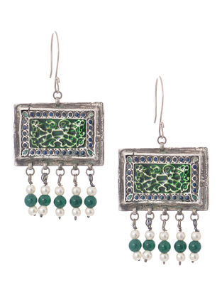 Green-Blue Enameled Tribal Silver Earrings
