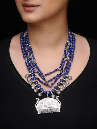 Lapis Lazuli Beaded Tribal Silver Necklace