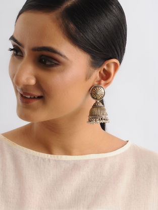 Dual Tone Tribal Silver Jhumkis with Pearls
