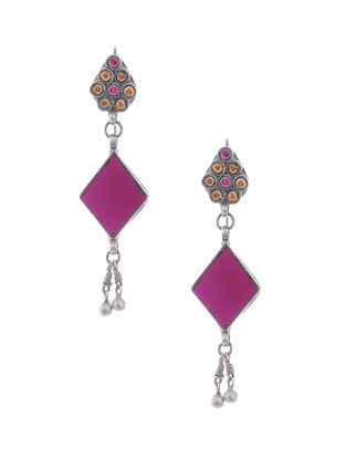 Pink-Yellow Glass Tribal Silver Earrings