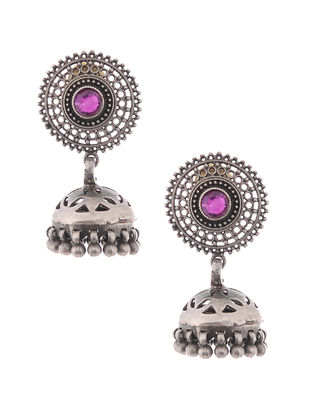 Purple Tribal Silver Jhumkis