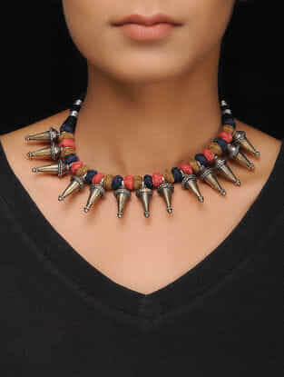 Multicolored Thread Tribal Silver Necklace