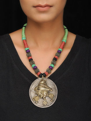 Multicolored Thread Dual Tone Tribal Silver Necklace