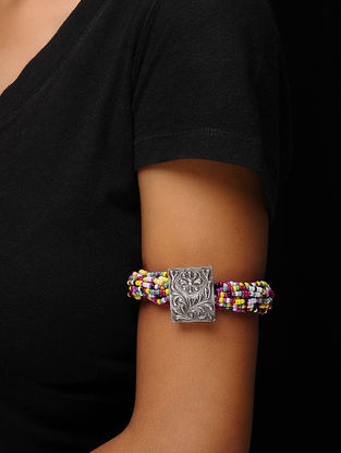 Multicolored Beaded Silver Armlet