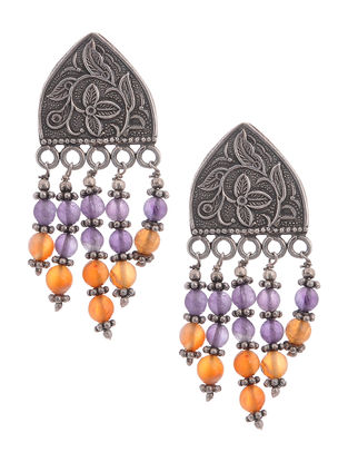 Purple-Orange Tribal Silver Earings with Floral Motif