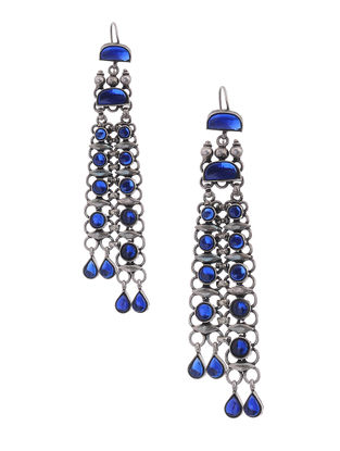 Blue Tribal Silver Earrings