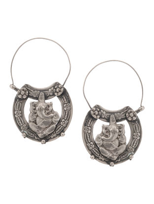 Tribal Silver Earrings with Lord Gamesha Motif