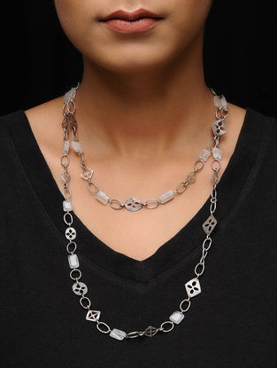 White Beaded Tribal Silver Necklace